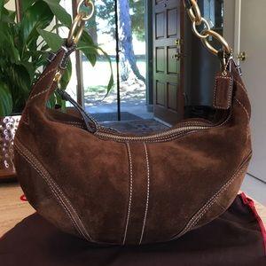 Gorgeous🌹COACH Suede Hobo Shoulder Bag Purse!